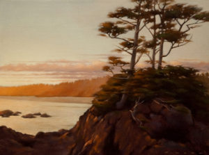 "SOLD ""Schooner Cove at Sundown,"" by Ray Ward 9 x 12 - oil $865 in show frame $825 in standard frame"