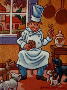 "SOLD ""Special Treats,"" by Michael Stockdale 6 x 8 - acrylic $290 Unframed"