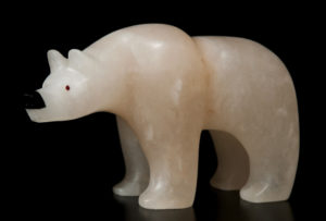 "SOLD ""Spirit Bear,"" by Vance Theoret 8"" (L) x 5 1/2"" (H) - Spanish alabaster $800"