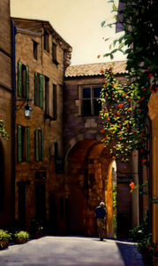 "SOLD ""A Splendid Day in Cordes,"" by Ray Ward 12 x 20 - oil $1000 Unframed $1235 with Show frame"