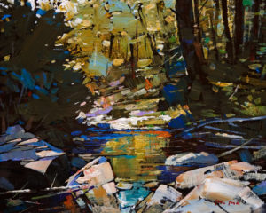"SOLD ""Spring Ravine,"" by Min Ma 8 x 10 - acrylic $745 Framed $580 Unframed"