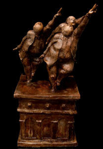 "SOLD ""The Stage at the Edge of the Temporal,"" by Michael Hermesh ceramic sculpture - 23 1/2"" (H) $4000"
