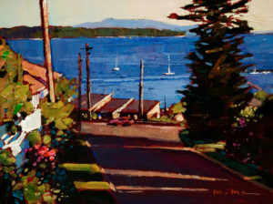 "SOLD ""Streets of White Rock,"" by Min Ma 6 x 8 - acrylic $610 in show frame $570 in standard frame"