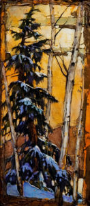 "SOLD ""Tax Free Trees,"" by David Langevin 8 x 18 - acrylic $650 Unframed $800 with Show frame"