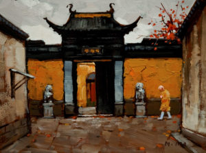 "SOLD ""The Temple's Gate,"" by Min Ma 6 x 8 - acrylic $350 Unframed $495 with Show frame"