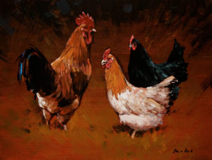 "SOLD ""Three Chickens,"" by Min Ma 9 x 12 - acrylic $935 in show frame $915 in standard frame"