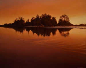 "SOLD ""Twilight Glow,"" by Ray Ward 16 x 20 - oil $1520 in show frame $1500 in standard frame"