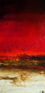 "SOLD ""Vibrant Journey,"" by Laura Harris 24 x 48 - acrylic $3790 in show frame $3450 unframed (thick canvas wrap)"