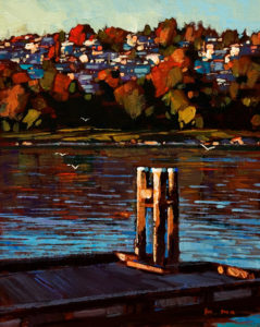 "SOLD ""View from White Rock Pier,"" by Min Ma 8 x 10 - acrylic $745 in show frame $735 in standard frame"