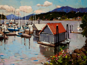 "SOLD ""View From the Dock,"" by Min Ma 9 x 12 - acrylic $600 Unframed $795 with Show frame"