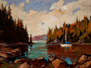 "SOLD ""View of Inlet,"" by Min Ma 6 x 8 - acrylic $610 in show frame $570 in standard frame"