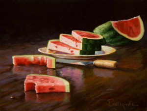 "SOLD ""Watermelon Man,"" by Larry Bracegirdle 6 x 8 - oil $620 Custom framed $450 Unframed"