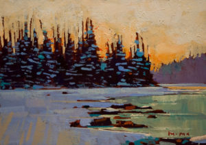 "SOLD ""Winter Break,"" by Min Ma 5 x 7 - acrylic $540 Framed $390 Unframed"