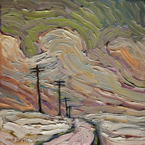 "SOLD ""Winter Pole Trail,"" by Steve Coffey 8 x 8 - oil $560 (thick canvas wrap without frame)"