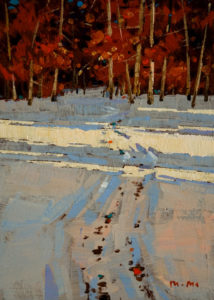 "SOLD ""Winter Trail,"" by Min Ma 5 x 7 - acrylic $540 Framed $390 Unframed"