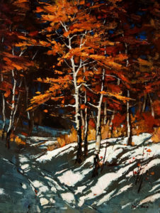 "SOLD ""Winter Trees,"" by Min Ma 12 x 16 - acrylic $1350 in show frame $1330 in standard frame"