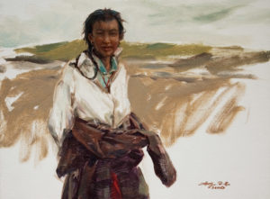 "SOLD ""Young Tibetan,"" by Donna Zhang 12 x 16 - oil $1690 Framed"