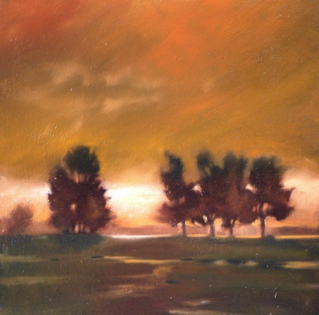 "SOLD ""Spanish Banks at Dusk"" 12 x 12 - oil $665 Framed"