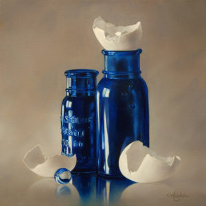 "SOLD ""Blue Belles Crackle Shells"" by Mickie Acierno 16 x 16 - oil $1700 Framed ($1870 with custom show frame)"
