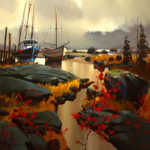 "SOLD ""Two Boats at Skidegate"" by Michael O'Toole 48 x 48 - acrylic $6040 Framed ($7850 with custom show frame)"