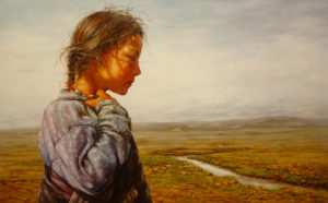 "SOLD ""Quiet River"" by Donna Zhang 30 x 48 - oil $7815 Framed ($9180 with custom show frame)"