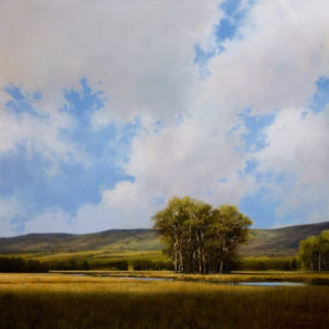 "SOLD ""100 Mile Sky"" 30 x 30 - oil $4920 with custom show frame $4870 standard frame"