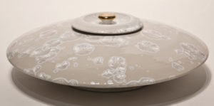 "SOLD Lidded vessel (BB-3473) by Bill Boyd crystalline-glaze ceramic – 17"" x 5 1/2"" $1400"