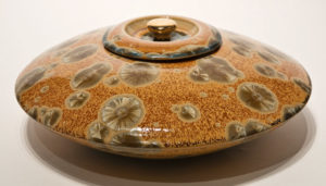 "SOLD Lidded vessel (BB-3474) by Bill Boyd crystalline-glaze ceramic – 16"" x 6"" $1300"