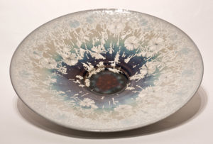 "SOLD Wall-hang bowl (BB-3475) by Bill Boyd crystalline-glaze ceramic – 19"" $950"