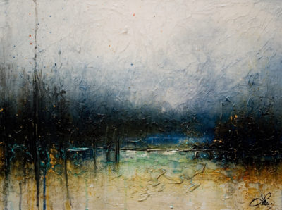 "SOLD ""By the Lake,"" by Laura Harris 18 x 24 - acrylic $1390 (thick canvas wrap without frame)"