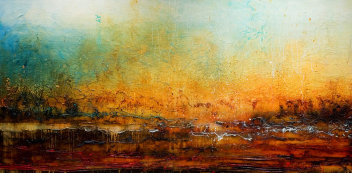 "SOLD ""Horizon of Hope,"" by Laura Harris 48 x 96 - acrylic $12,700 (thick canvas wrap without frame)"