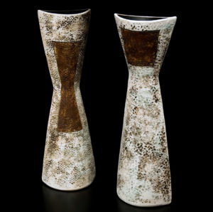 "SOLD (both) Vases by Laurie Rolland Hand-built ceramic – 18"" (H) $240 each"