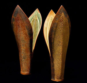"SOLD ""Double-leaf vases"" (LR-107 SOLD left and LR-106 SOLD right), by Laurie Rolland hand-built ceramic – each 14 1/2"" (H) $180 each"