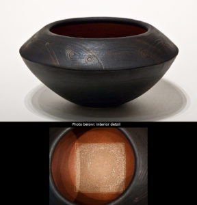 "SOLD ""Circle square vessel"" (LR-114), by Laurie Rolland hand-built ceramic – 10"" (diameter) x 5 1/2"" (H) $300"