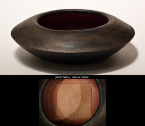 "SOLD ""Circle square vessel"" (LR-115), by Laurie Rolland hand-built ceramic – 14"" (diameter) x 4"" (H) $425"