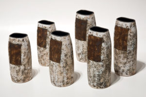 "ALL SOLD Vases (LR-125 to LR-130), by Laurie Rolland hand-built ceramic – 6 1/2"" (H) to 7 1/2"" (H) $55 to $65 each"
