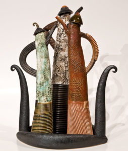 "SOLD ""Teapot Conversation"" (LR-134), by Laurie Rolland hand-built ceramic – 16 1/2"" (H) $525"