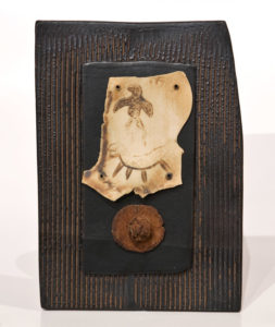 "SOLD ""Letter to Athena"" (LR-141), by Laurie Rolland hand-built ceramic – 7"" x 10"" $150"