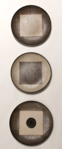 "SOLD ""Continuum"" wall-hang plate set of 3 (LR-150) by Laurie Rolland hand-built ceramic – each 11 1/2"" diameter $350 full set"