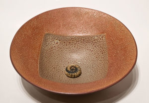 "SOLD ""Circle square bowl"" (LR-151) by Laurie Rolland hand-built ceramic – 10 1/2"" (W) x 3 1/2"" H) $160"