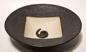 "SOLD ""Circle square bowl"" (LR-153) by Laurie Rolland hand-built ceramic – 11 1/2"" (W) x 3"" H) $160"