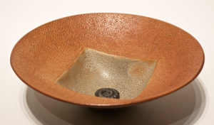 "SOLD ""Circle Square Bowl"" (LR-159) by Laurie Rolland hand-built ceramic – 11"" (diameter) $160"