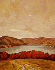 "SOLD ""Above the Lake,"" by Min Ma 8 x 10 – acrylic $560 Framed"