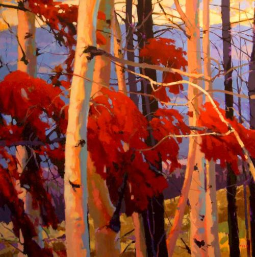 "SOLD ""After the Fire (Okanagan Valley),"" by Mike Svob 48 x 48 - acrylic $9200 (thick canvas wrap without frame"