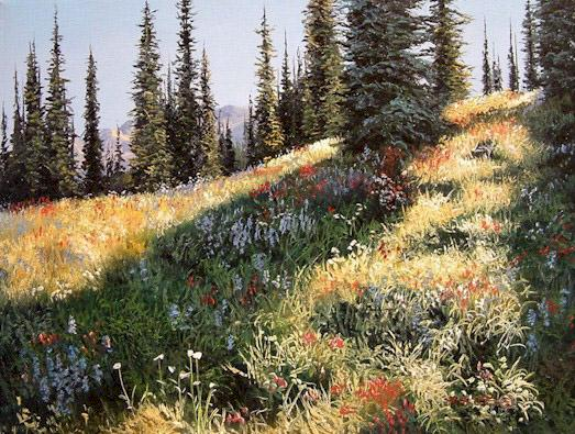 "SOLD ""Alpine Flowers"" 12 x 16 - oil $1400 Framed"