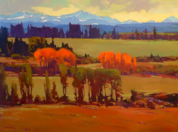 "SOLD ""Aspen Turning,"" by Mike Svob 36 x 48 - acrylic $7600 Framed"