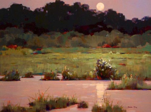 "SOLD ""August Moonrise,"" by Min Ma 12 x 16 - acrylic $1255 Framed"