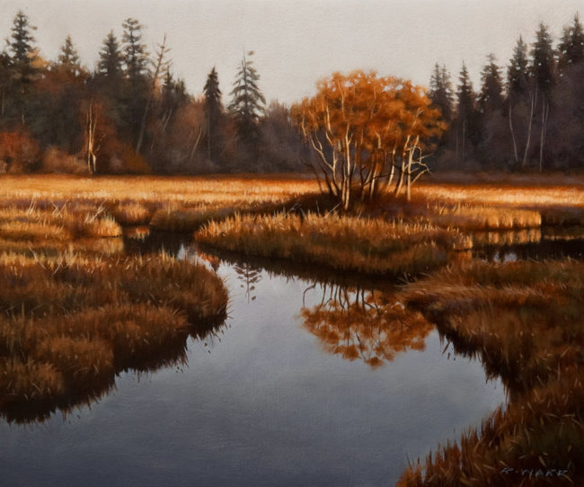 "SOLD ""Autumn Oaks on the Marsh,"" by Ray Ward 10 x 12 - oil $880 Unframed $1085 Custom framed"
