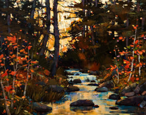 "SOLD ""Autumn Retreat,"" by Min Ma 16 x 20 – acrylic $1970 Unframed"