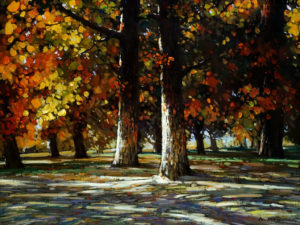 "SOLD ""Autumn Shadows,"" by Min Ma 18 x 24 – acrylic $2235 Framed"